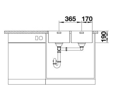 Мойка BLANCO ANDANO 340/340-IF/A правая (с клапаном-автоматом)  арт. 522997