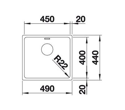 Мойка BLANCO ANDANO 450-U  (с клапаном-автоматом)  арт. 519374