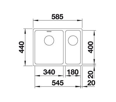 Мойка BLANCO ANDANO 340/180-U (с клапаном-автоматом)  арт. 518322