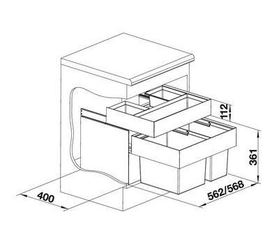 Система сортировки отходов BLANCO SELECT 60/2 Orga 518725 с системой хранения