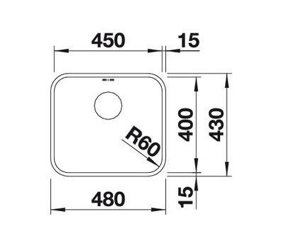 Мойка BLANCO SUPRA 450-U (с корзинчатым вентилем) 518203