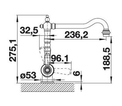 Комплект смеситель Blanco Sora (полированная латунь) + BWT Барьер Expert Standart