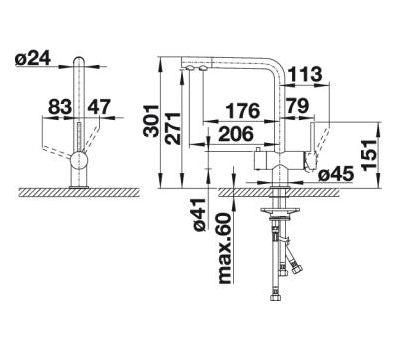 Комплект смеситель Blanco Fontas II (хром/гранит) + BWT Барьер Expert Standart