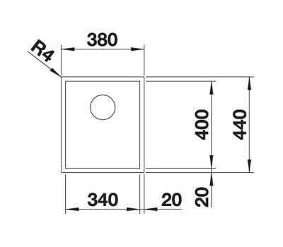 Мойка BLANCO ZEROX 340-U нержавеющая сталь Durinox® 521556
